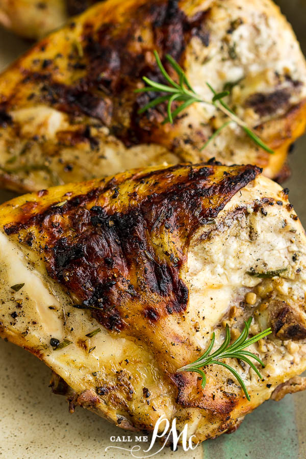 Easy to make, tender, juicy and flavorful, Grilled Rosemary Lemon Chicken Breasts make a delicious main dish entree. #grilledchicken #grilling #recipe #marinade #callmepmc