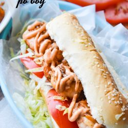 Shrimp Po' Boy easy, tasty, and a lighter version of the New Orleans popular sandwich recipe. It's full of bold flavor and spice! #shrimp #sandwich #recipe #poboy #creole #NOLA
