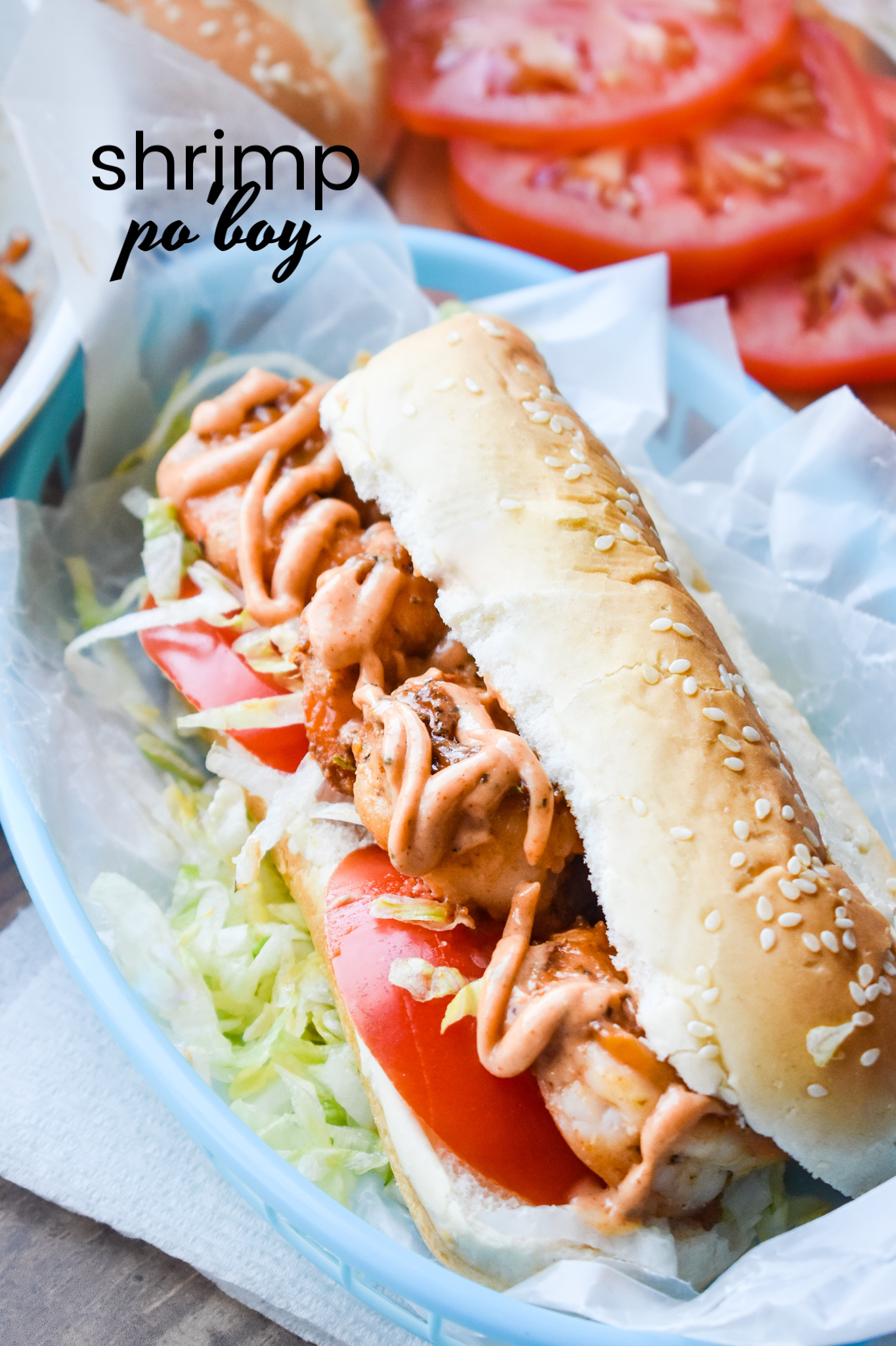 Shrimp Po' Boy Sandwich Recipe. easy, tasty, and a lighter version of the New Orleans popular sandwich recipe. It's full of bold flavor and spice! #shrimp #sandwich #recipe #poboy #creole #NOLA via @pmctunejones