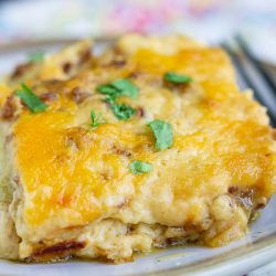 Twice Baked Potato Casserole recipe.This is one of the best and easiest casserole recipes you'll find. It's a crowd-pleaser at potlucks and with my own family. #twicebakedpotaotes #twicebakedpotatoecasserole #recipes #callmepmc #potatoes #cheese #bacon #casserole #sidedish #dinner