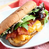 Sweet Tea Brined Chicken Cheddar Sandwich recipe - thicken breasts are brined in sweet tea then fried or grilled. Bacon, cheese, lettuce.