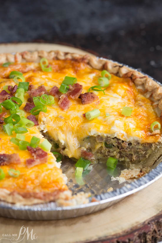 This Bacon and Sausage Quiche is perfect for lunch or dinner with a side salad and a glass of wine! It's creamy, cheesy and so delicious! A flavorful, savory addition to any brunch and a great way to use up leftover meat and veggies.