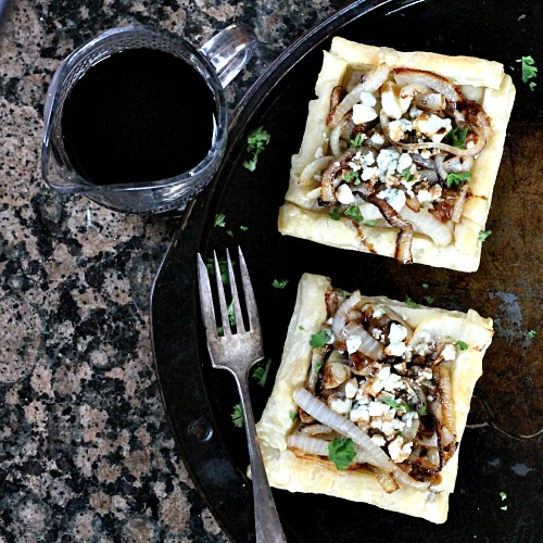 Caramelized Onion Blue Cheese Tart ovhd
