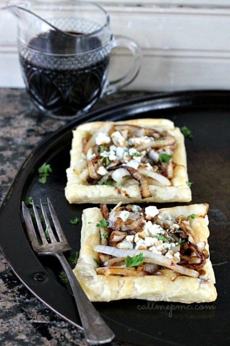 Caramelized Onion Blue Cheese Tart with Balsamic Reduction