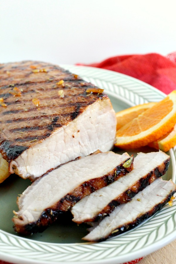 Orange Marmalade Pork Tenderloin - grilled & glazed with orange marmalade & spices. Great for entertaining or easy enough weeknight dinner! #recipe #pork #tenderloin #grilled #orange