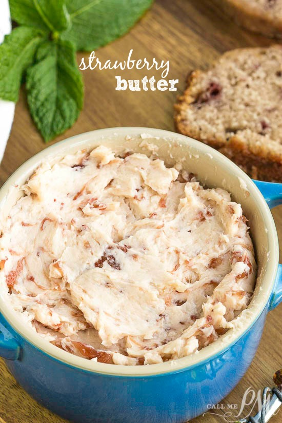 Strawberry Butter is fluffy, creamy, and slightly sweet. Made with just two ingredients Strawberry Butter is great on quick bread, yeast bread, biscuits, pancakes, toast, scones, and rolls.
