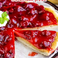 An easy recipe for a delicious dessert, Strawberry Cheesecake Pizza Recipe has a really yummy pizza crust topped with sweetened cream cheese and strawberry pie filling. #pizza #dessert #recipe #dessertpizza #strawberry #callmepmc