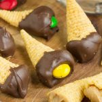 Fun chocolate and peanut butter snacks, my Bugle Bites are a sweet, salty, creamy, crunchy delight! And easy, no-cook recipe that is a great way to get kids in the kitchen!