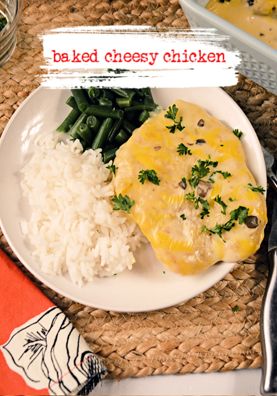 Easy Baked Cheesy Chicken, meet your new favorite weeknight chicken dinner! It's easy to make and everyone loves it! #cheese #chicken #casserole #dinner #recipe #easy