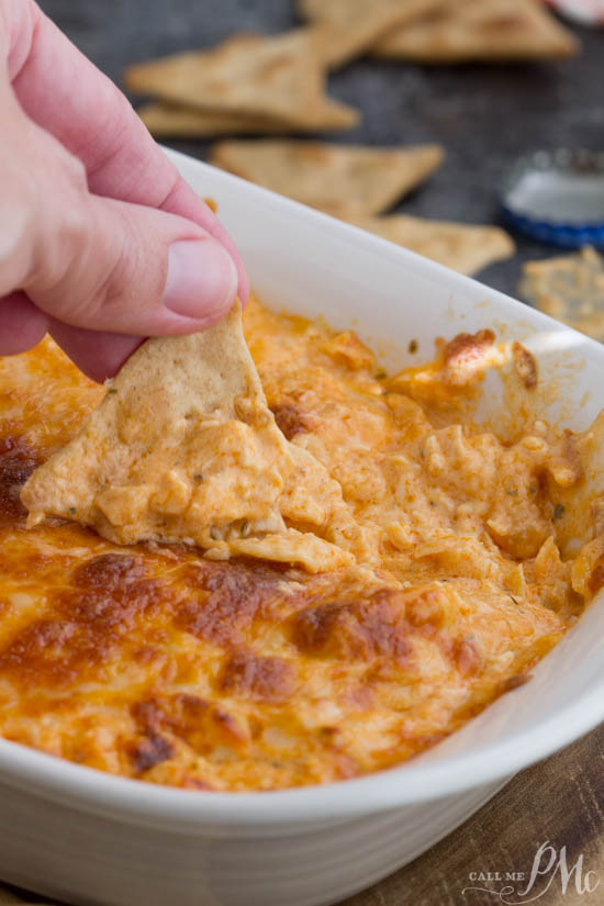 Spicy, cheesy, creamy, hearty Buffalo Chicken Dip, is a mouth-watering, crowd-favorite dip recipe made with three kinds of cheese, tender simmered chicken & hot Buffalo sauce.