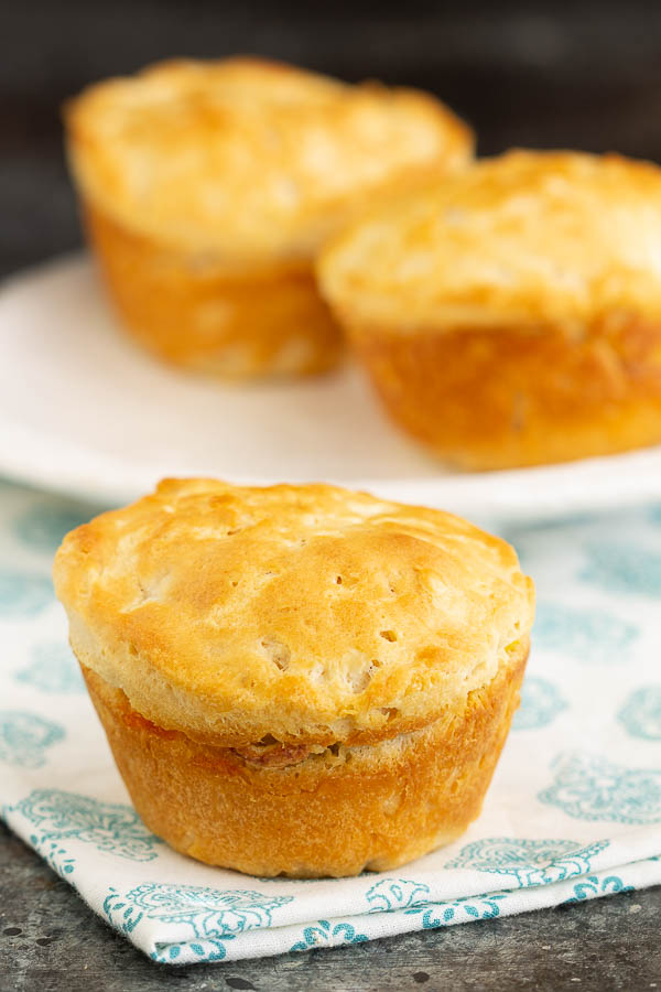 Biscuits filled and baked in muffin tin