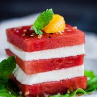 Fresh Mozzarella Watermelon Salad is an easy salad and a great no-cook strategy for staying cool in the summer heat!