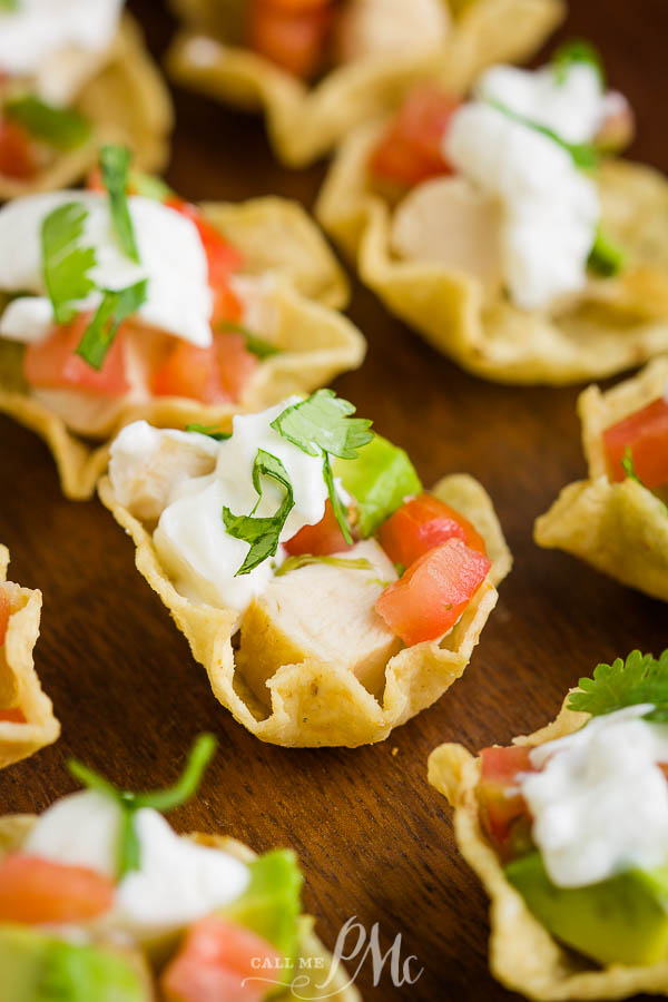 Chicken Taco Bites, or Chicken Taco Cups, is a quick, easy recipe an appetizer, tailgating, and party food. Mini tacos. Taco cupcakes. #baking #recipes #callmepmc