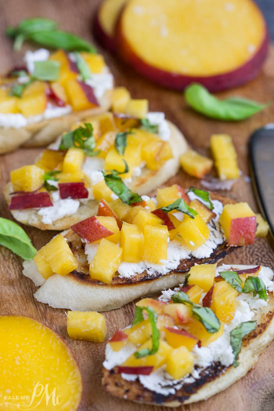 appetizer recipe. Sweet, Savory, Tangy, Crisp, and Creamy perfectly describes Grilled Peach Bruschetta. Slices of crusty, toasted baguette are topped with goat cheese, peaches, basil, and a drizzle of balsamic glaze.