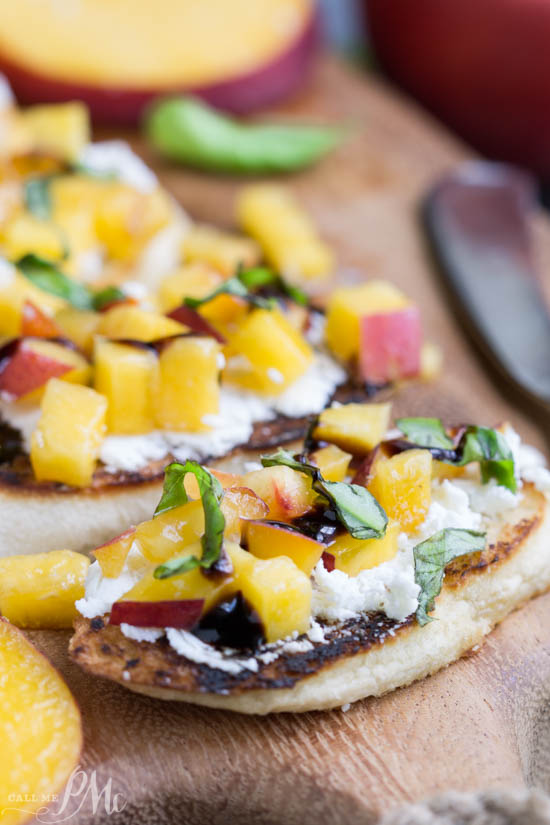 Sweet, Savory, Tangy, Crisp, and Creamy perfectly describes Grilled Peach Bruschetta. Slices of crusty, toasted baguette are topped with goat cheese, peaches, basil, and a drizzle of balsamic glaze.
