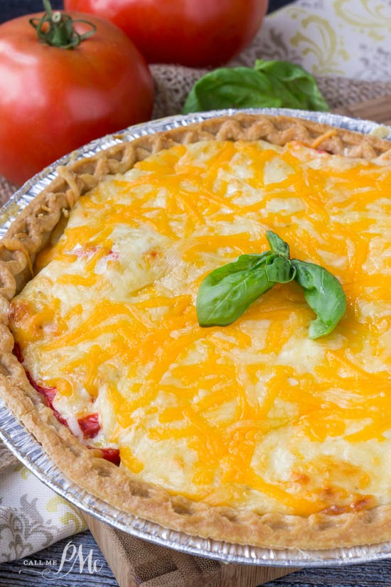 Traditional Soutern Tomatoe Pie recipe is cheesy and buttery and the perfect recipe!