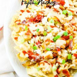 Chicken Shrimp Fajita Nachos are delicious when layered with all the good stuff chicken, shrimp, peppers, onions, and cheese. #chicken #shrimp #fajita #nachos