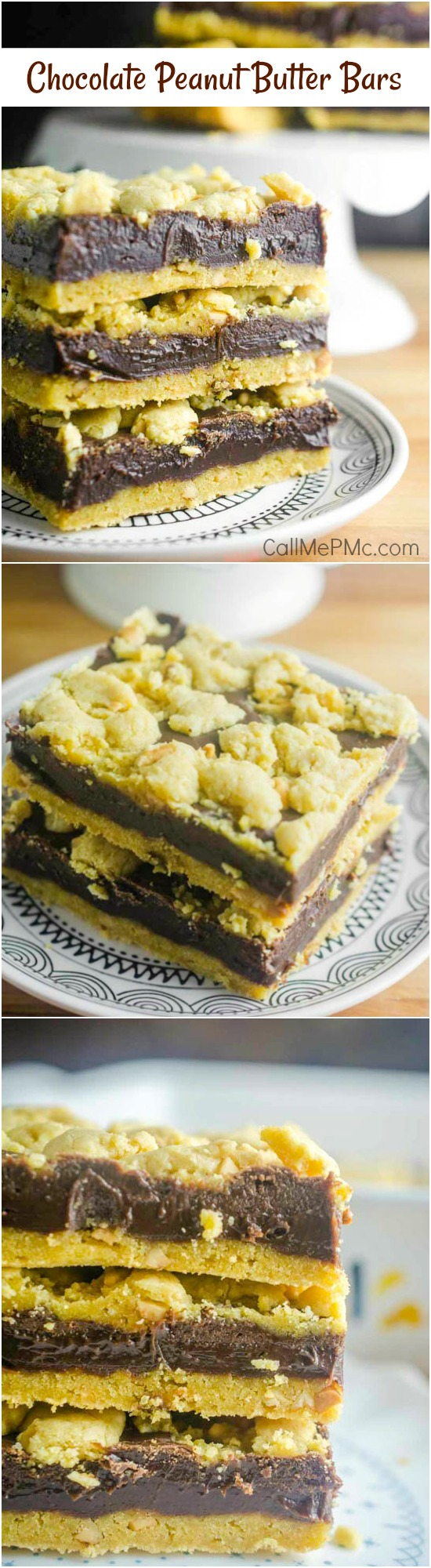 Made with a cake mix short-cut, Chocolate Peanut Butter Bars is an easy crumb bar dessert recipe with a creamy #peanutbutter and #chocolate mixture sandwiched between a #cakemix base and topping. #dessert #recipe #baked #easy #potluck