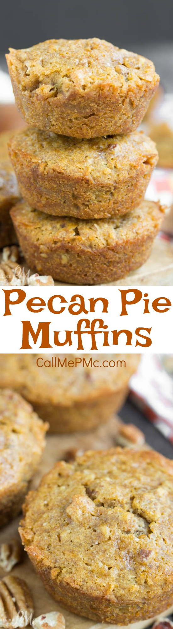Delicious Pecan Pie Muffins recipe - have that amazing pecan pie flavor, but in a chewy little muffin. They're great for breakfast, snacking, and even dessert!!