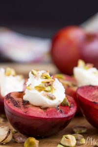 Grilled Plums with Mascarpone are perfect as a fresh, luscious, and simply elegant dessert, or as a unique side paired with a savory dish.