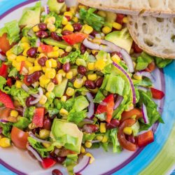 Traditional Vegetarian American Southwest Salad with vegetables, avocado, beans and corn on a rustic background