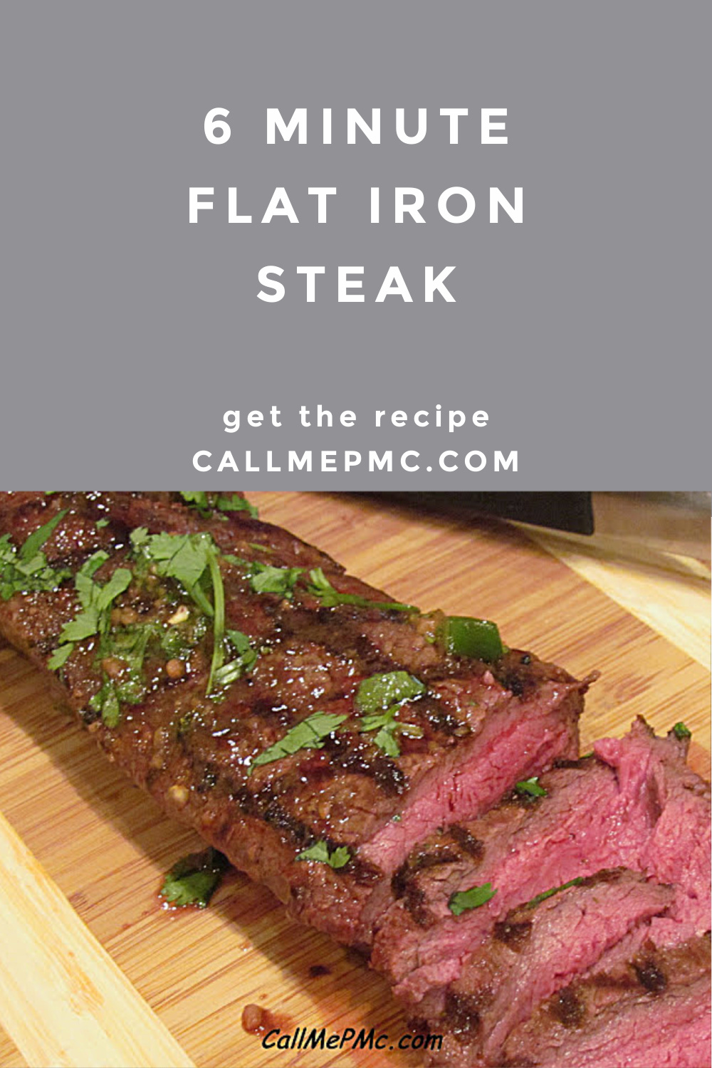 Six Minute Flat Iron Steak is marinated in a mix of kitchen staples like garlic, soy, and ginger that results in a flavorful marinade. #steak #grilling #flatiron #marinated #recipe #callmepmc via @pmctunejones