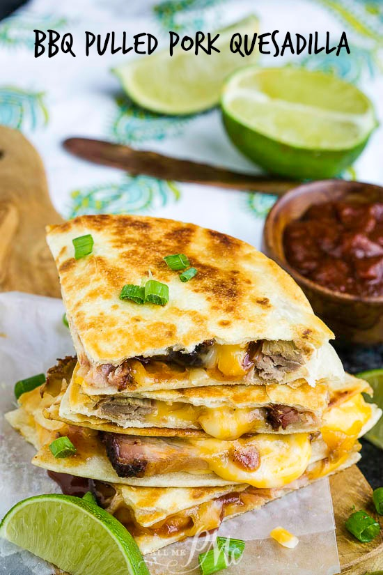 BBQ Pulled Pork Quesadilla, soft flour tortillas are filled with tender pulled smoked pork, spicy barbecue sauce, and gooey cheddar cheese. #bbq #pork #bbqpork #quesadilla #TexMex #cheese #bbqsauce #quickmeal #easymeal #Mexicanfood #food #eat #fastmeal #dinner #familyfavorite