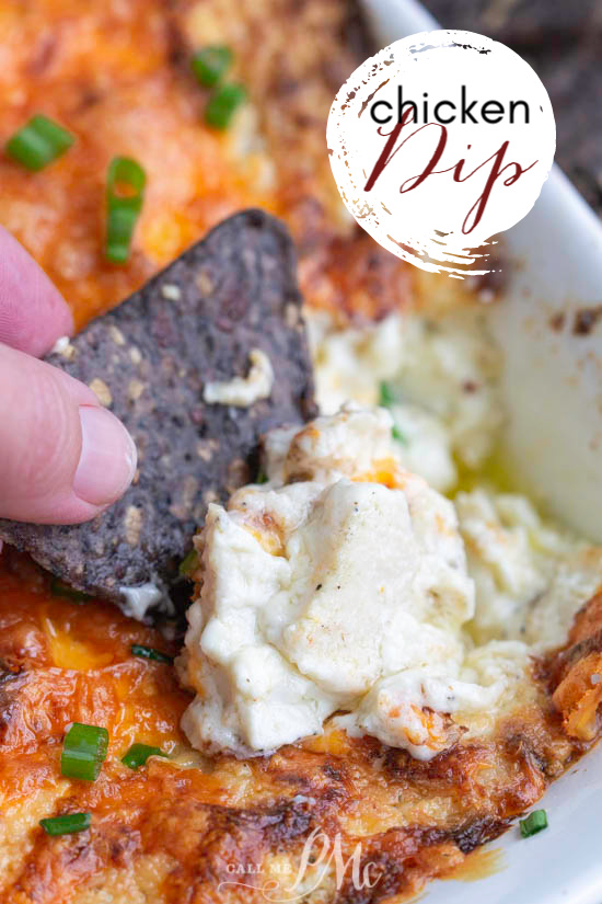 Chicken Dip is a warm, creamy, spicy dip that's perfect for game day! Perpetually a party favorite, this easy recipe is so simple to make and insanely delicious! #recipe #dip #chicken #appetizer #creamcheese
