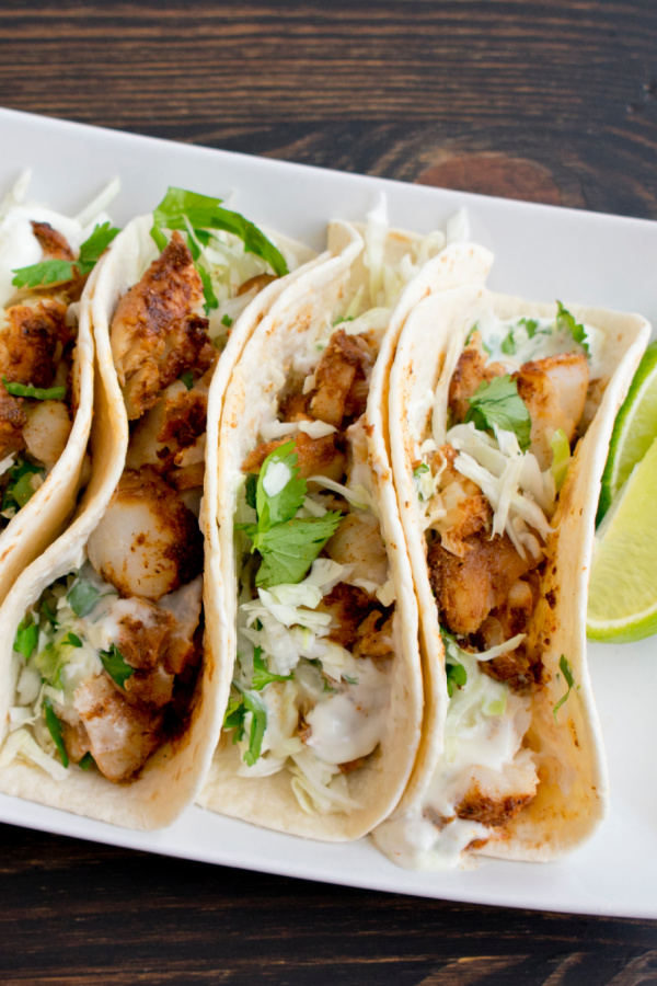 Fish Tacos with slaw and cilantro