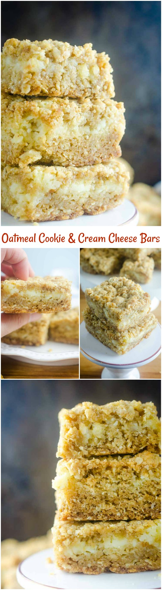 An oatmeal cookie and cheesecake collide in this Oatmeal Cookie and Cream Cheese Bars recipe. They are luscious, sweet, and can be made quickly and easily. #dessert #recipe #creamcheese #oats