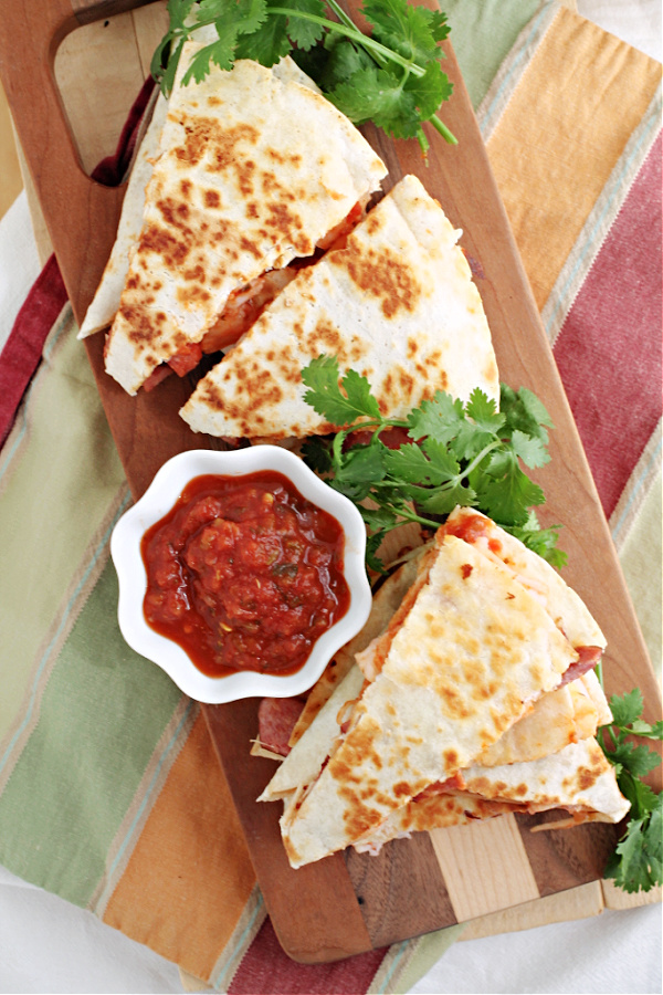 Chorizo Shrimp Quesadilla, dinner doesn't get much better or quicker than this recipe! This boldly flavored recipe is great as a snack, meal, or game day munchies.