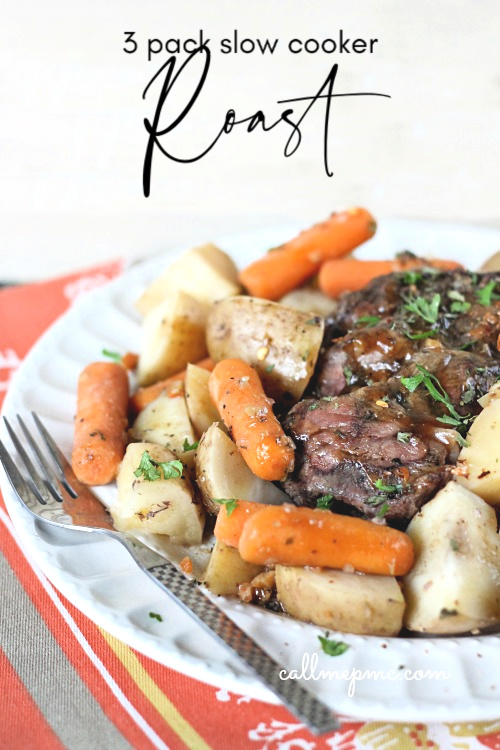 This Easier-Than-Takeout Three Pack Slow Cooker Roast is sure to become a family favorite.  #slowcooker #crockpot #roast #easy #recipe #beef