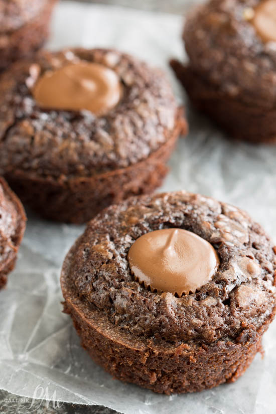 Brownie Bites are fudgy cupcakes filled with caramel-filled chocolate candies. This is the easiest dessert to make and always gets raves! #brownies #fudge #dessert #recipe #callmepmc via @pmctunejones