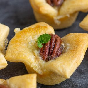 Hot Honey Brie Pecan Bites buttery crescent roll dough is filled with brie, pecans, and drizzled with spicy honey. These make a wonderful slightly sweet appetizer. #pecan #brie #crescentrolls #appetizer #party