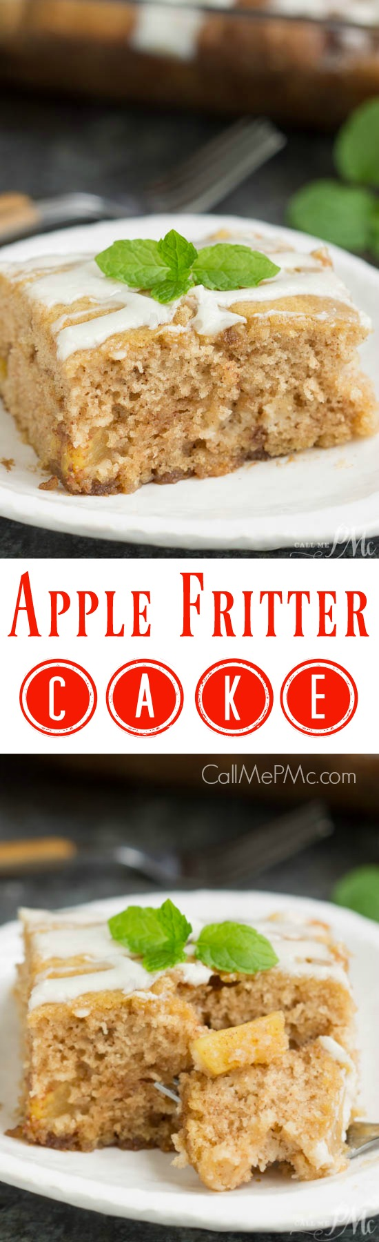 Apple Fritter Cake is moist and bursting with flavor. It's sweet, buttery and filled with caramel apples and cinnamon. Top it off with a sugary glaze and you have a cake that tastes just like an apple fritter!