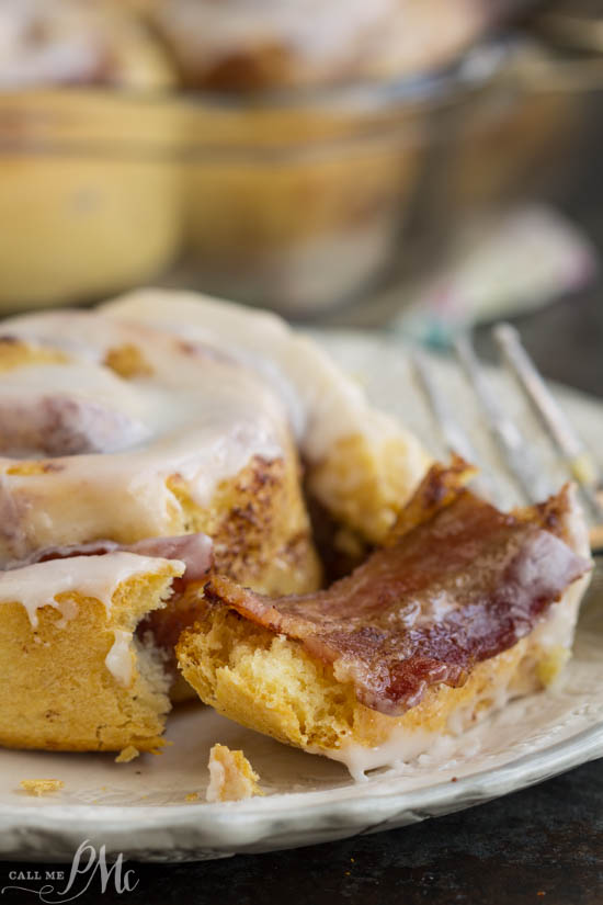 breakfast recipe. Bacon Cinnamon Rolls are the perfect combination of savory and sweet. A new twist of a comfort food favorite, traditional cinnamon rolls are paired with smokey bacon for a super easy breakfast.