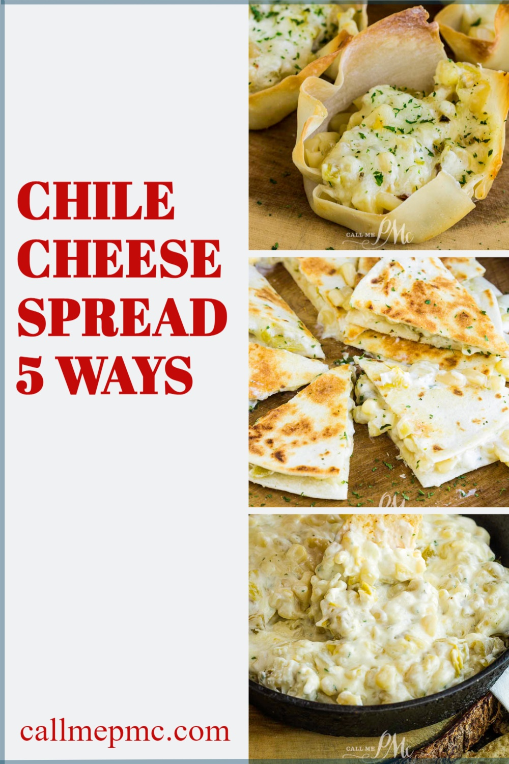 Chile Cheese Spread Five Ways takes a basic spread or dip & uses it in different recipes. It's easy to make and has great flavors.