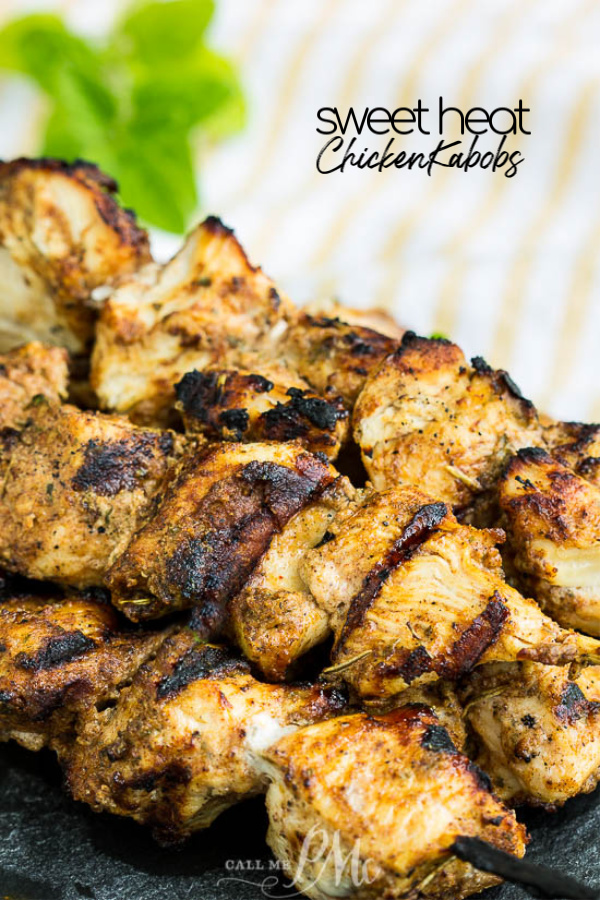 These Sweet Heat Chicken Kabobs are bursting with flavor. Juicy and tender, this chicken is perfect for tailgating or a cookout. #chicken #chickenbreast #grilling #cookout #sweet #bbq #spicy #hot #chickenrecipes #grilledchicken #grilling #callmepmc via @pmctunejones