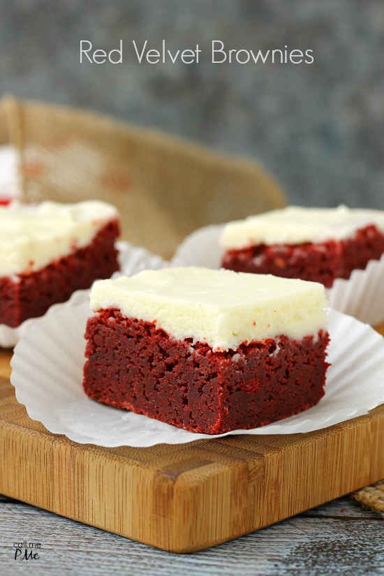 Red Velvet Brownies made with real chocolate and topped with Crema Cheese Frosting from callmepmc.com, the perfect dessert for the holidays!