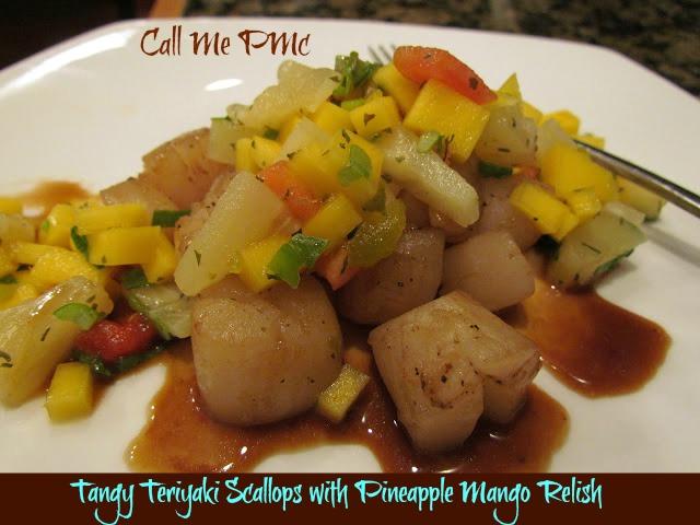 Tangy Teriyaki Scallops with Pineapple Mango Relish #callmepmc