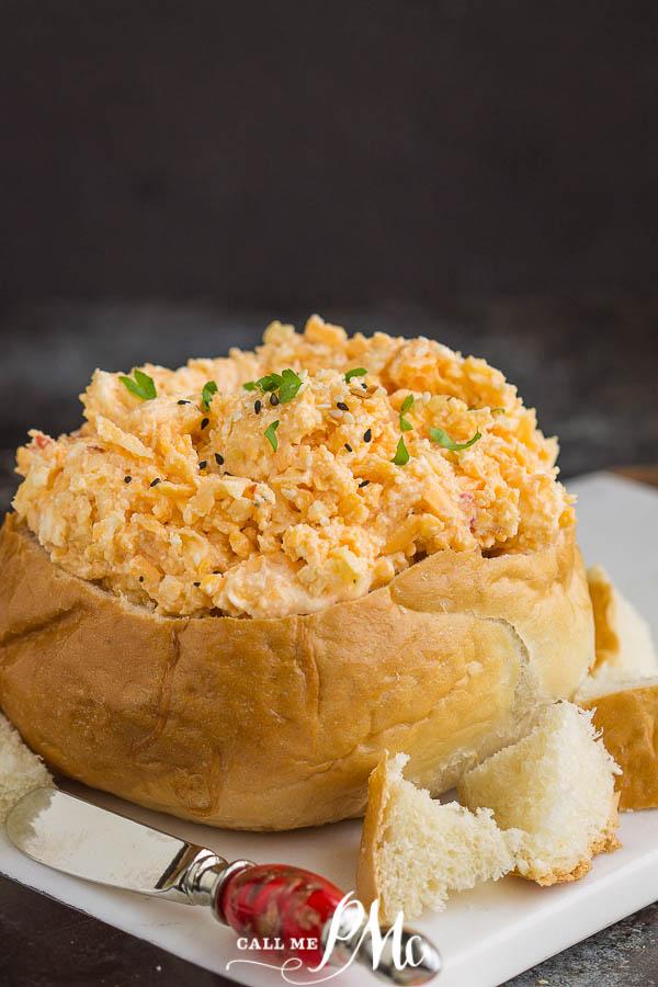 pimento cheese in a bread bowl