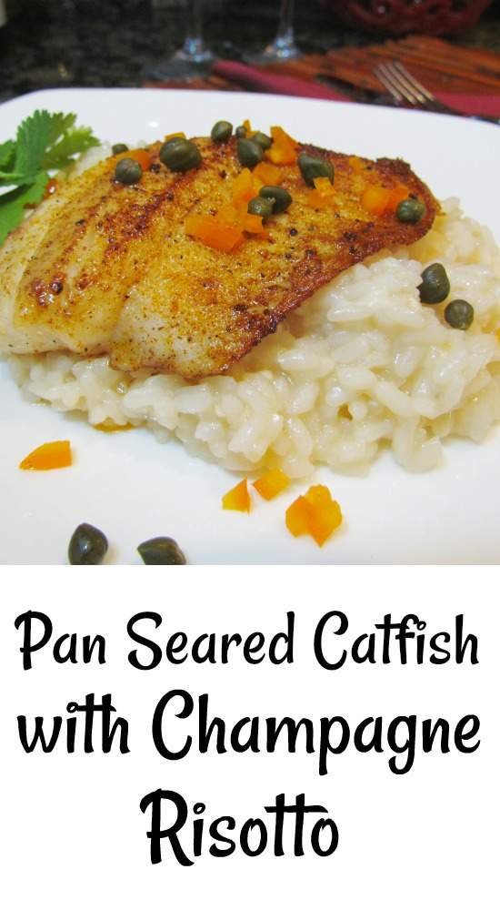 Pan Seared Catfish over Champagne Risotto with Champagne Pan Sauce has spicy seared catfish over a special champagne risotto is an elegant and flavorful special occasion dinner! #fish #catfish #champagne #risotto #sauce #recipe via @pmctunejones