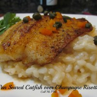 Pan Seared Catfish over Champagne Risotto