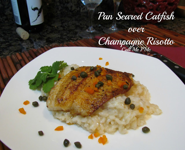 Pan Seared Catfish over Champagne Risotto with Champagne Pan Sauce has spicy seared catfish over a special champagne risotto is an elegant and flavorful special occasion dinner! #fish #catfish #champagne #risotto #sauce #recipe