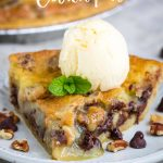Who doesn't love Chocolate chip cookies? This Chocolate Chip Cookie Pie is like a big cookie baked in a pie crust. It's rich, decadent, and delicious! #chocolatechip #cookiedough #pie #chocolatepie #chocolatechippie #TollHousepie #recipe #dessert