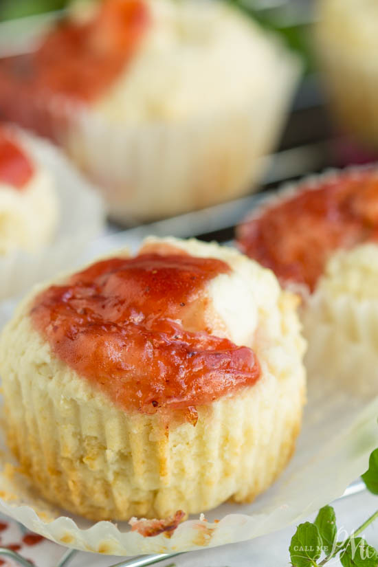 A necessary indulgence any day of the week, Strawberry Cream Muffins are filled with cream cheese and strawberry jam.