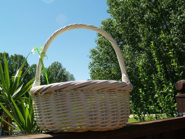 fabric lined wicker Easter basket