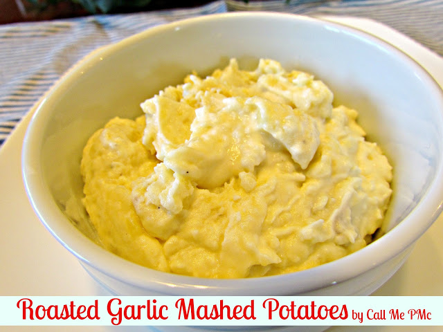 Roasted Garlic Mashed Potatoes from www.callmepmc.com #callmepmc #potatoes #sides Bold Garlic and rich cream make these potatoes a must have recipe!