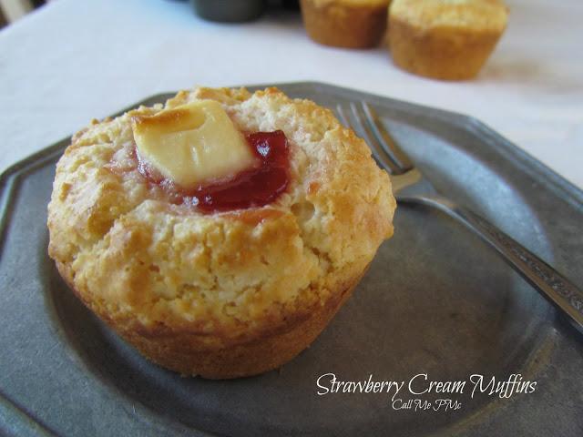 Strawberry Cream Muffins from #callmepmc #strawberry #muffins