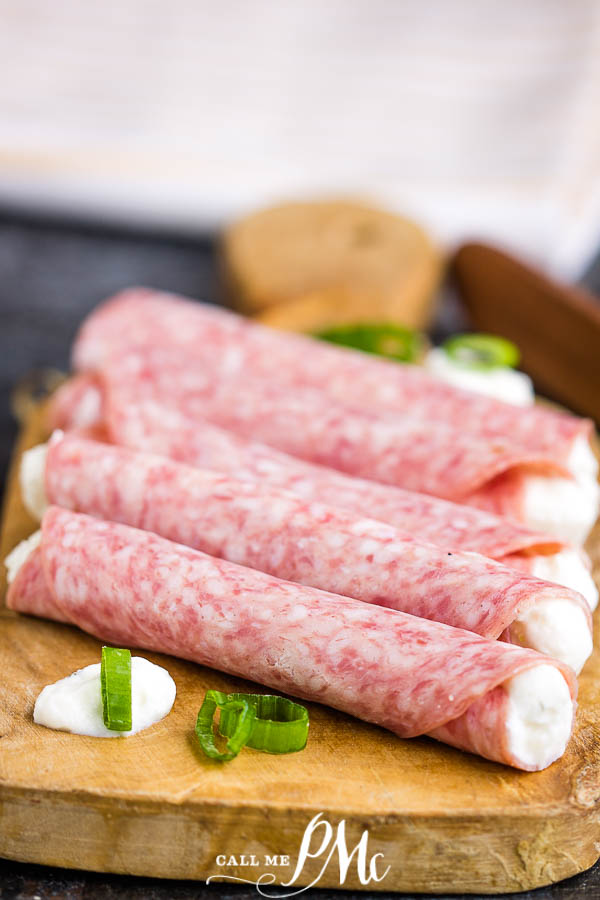 Appetizer Salami Rolls makes an easy appetizer for entertaining. Two ingredients & a few minutes for yummy finger food for charcuterie. #appetizer #salami #antipasta #creamcheese #appetizer #recipe